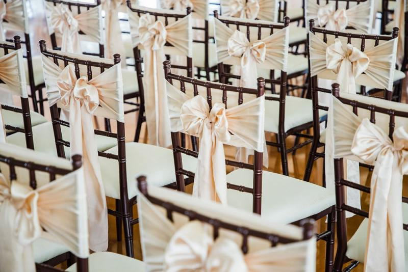 Indoor wedding chairs with sash