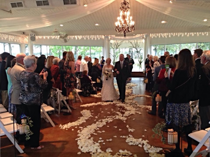 bride and groom at House Plantation and rose petals.JPG