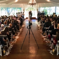 Bow sashes and an indoor wedding at House Plantation