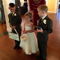 Flower girl and her sidekicks at a wedding at House Plantation