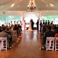 Saying I do with soft shades of pink at an indoor wedding at House Plantation