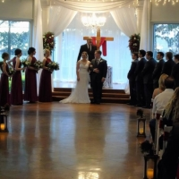 taking vows with beautiful landscaped views