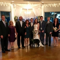 wedding party pics with the family dog