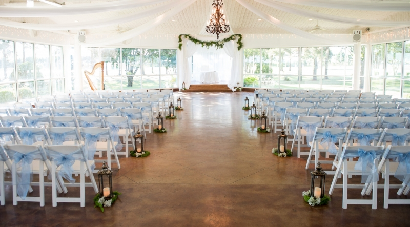 All White Indoor Wedding Ceremony Site: Indoor Wedding Photos & Photography Houston