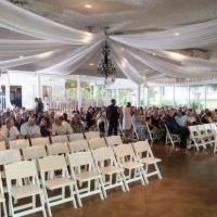 Indoor wedding in the glassed room in sept