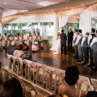 beautiful indoor wedding saying I do in september