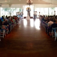 indoor wedding at a Houston facility in July