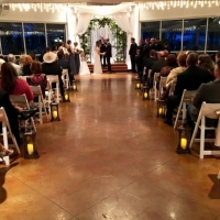 indoor wedding in dec at night with beautiful views