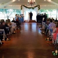 indoor wedding in october with gorgeous outdoor views