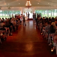 light pink chair sashes and an indoor wedding with beautiful views in Houston