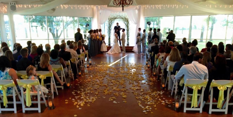 Yellow And White Rose Petals Sashes Saying I Do