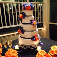 wedding cake in january with bright vivid colors