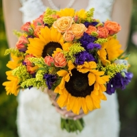 bright yellow sunflower wedding bouquet