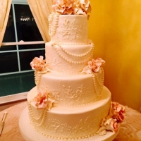 elegant cake with edible flowers