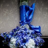 flower bouquet in vivid blues