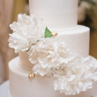 wedding cake with white flowers pic by Eric & Jenn Photography