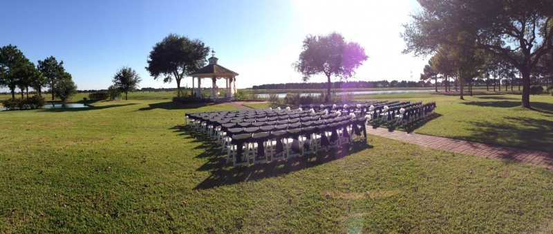 outdoor wedding with the lake in the background