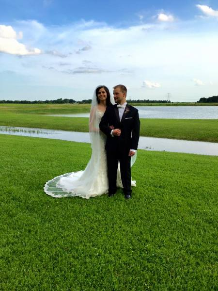 Newlyweds and lake view