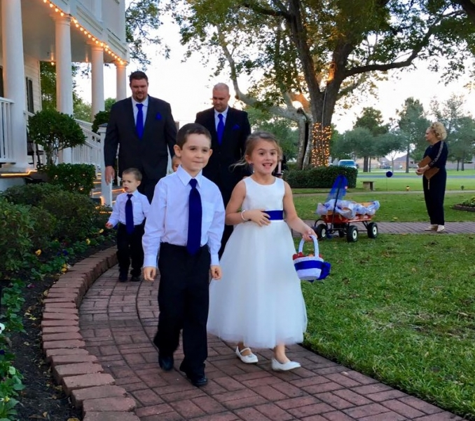 Flower girl and ringbearer at an outdoor wedding at House Plantation