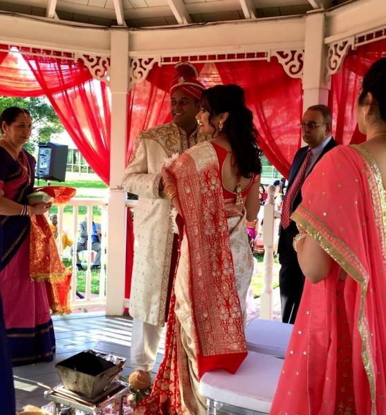 Intimate outdoor gazebo wedding at House Plantation