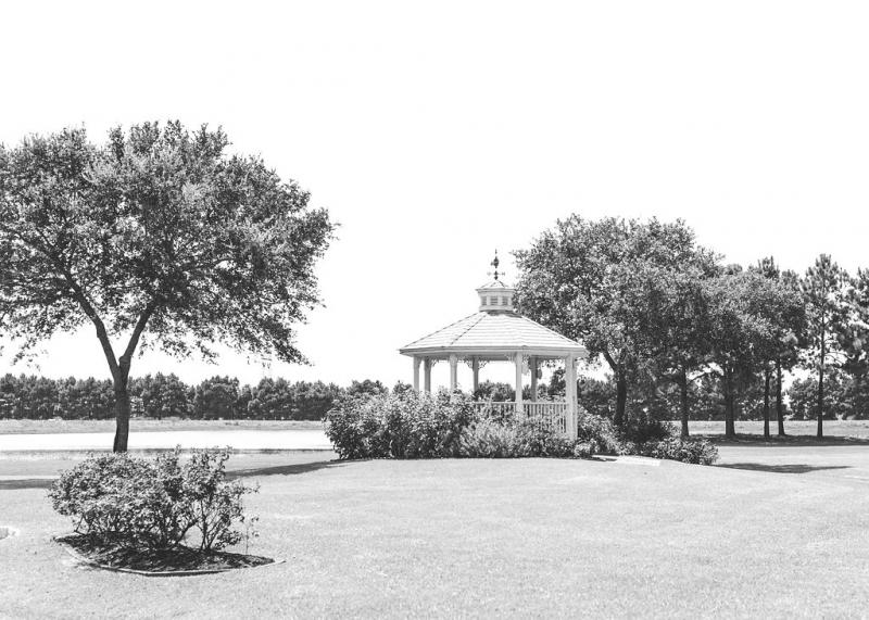 beautiful ground views of gazebo and lake at a Houston venue