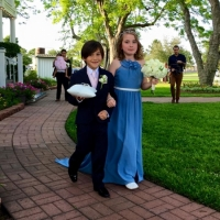 Flower girl in blue and a ring bearer at House Plantation