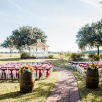 Outdoor wedding with barrels