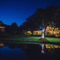 amazing night picture full of lights of a january wedding at House Plantation