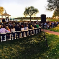 Outdoor sunset wedding at House Plantation