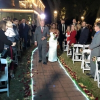 outdoor wedding in dec with walkway adorned with lights and rose petals