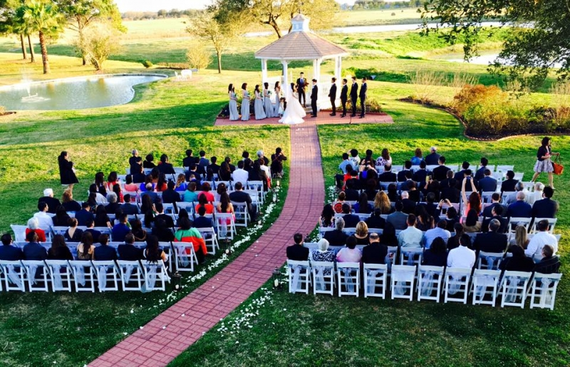 outdoor wedding in february with an overview of the lake