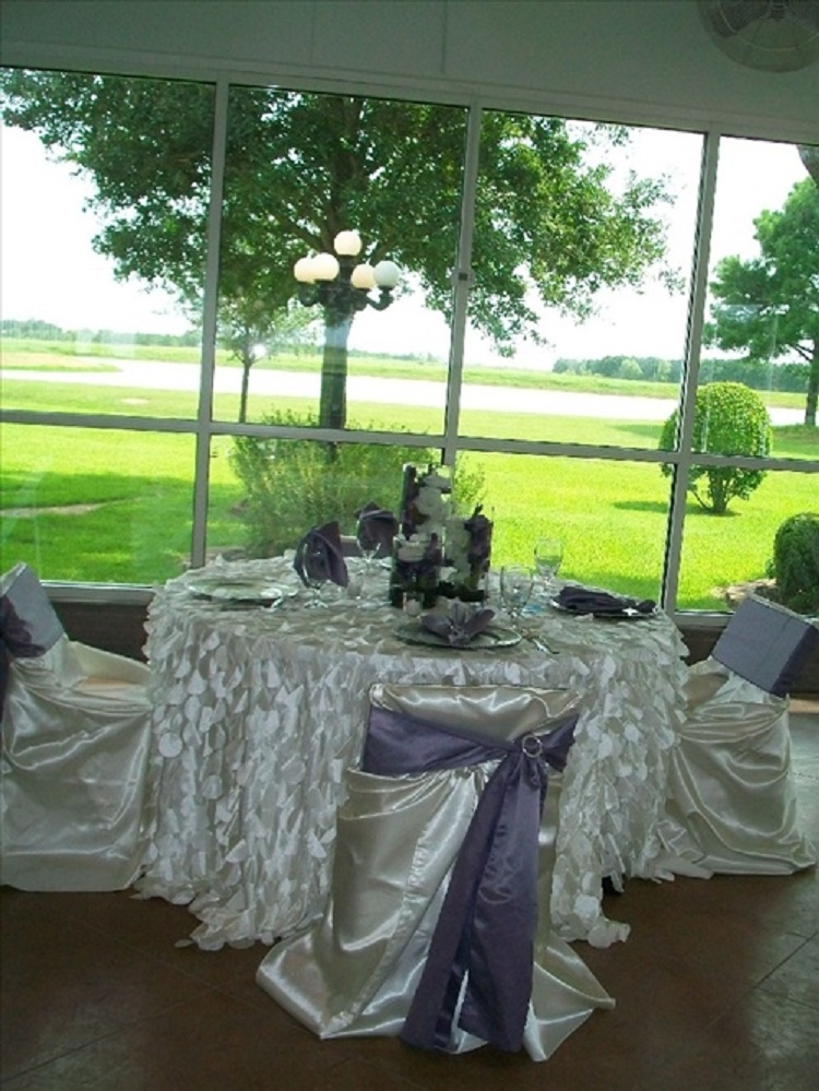 Wedding reception photos - reception tables with a beautiful view