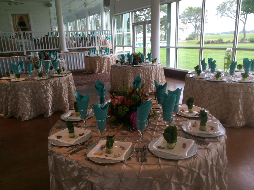 Wedding reception photos - vibrant colors at your reception with a park view