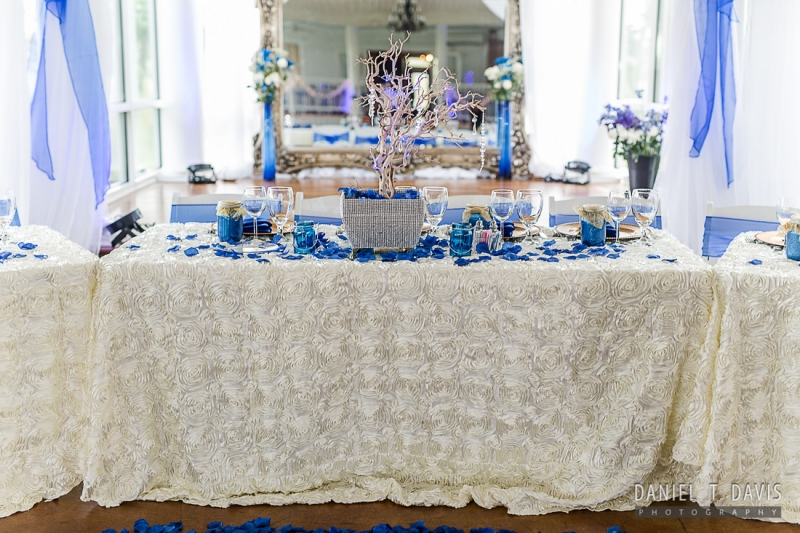 bride and groom table in bright blues