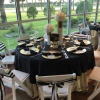 Black linens at an elegant military reception