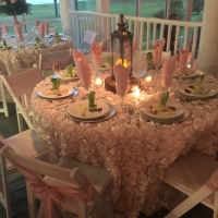 Flowered linens and elegant appetizers at House Estate