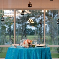 Wedding reception photos - vibrant tables with a view and creative decorations
