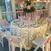 Soft pink linens and sashes at an indoor reception at house estate