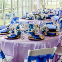 group of tables in vivid blues at House Estate