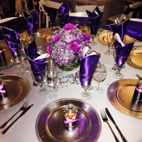 Shades of purple and gifts at a reception at House Plantation