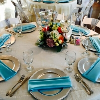 elegant reception table with silver and blues