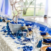 his and her table in blue with outdoor views in Houston