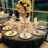 reception table with a beautiful view at house plantation - wedding reception photos
