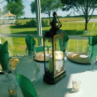 views of the lake and gazebo from your table at House Estate
