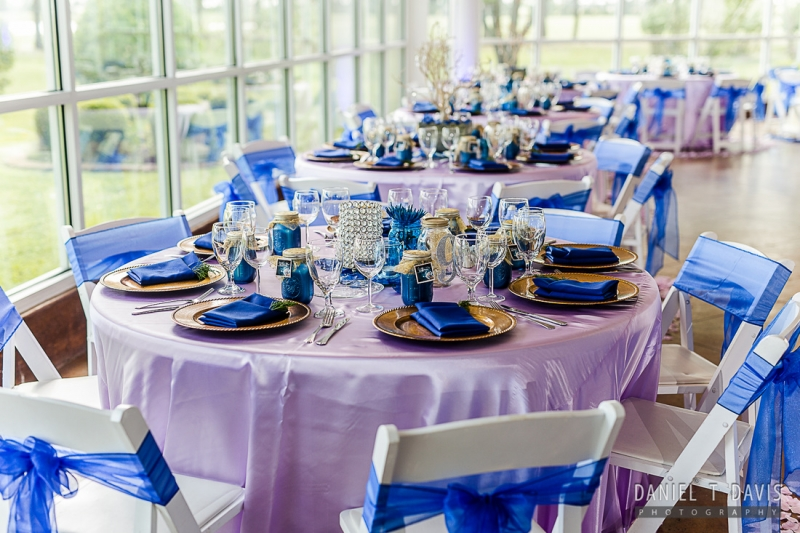 group of tables in vivid blues at House Plantaation