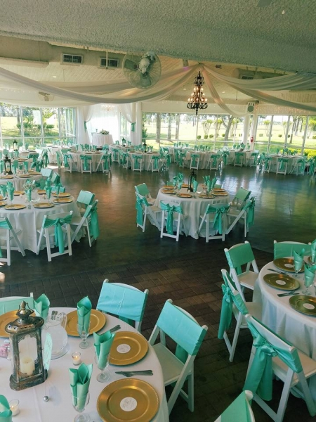reception tables with hues of green at House Estate
