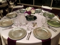 Reception table at House Plantation with silver chargers