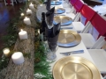 Reception tables with outdoor feel on the table and outside
