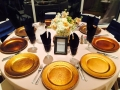 Wedding reception at House Estate with crackled gold chargers