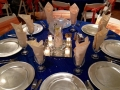 reception table in bright blue